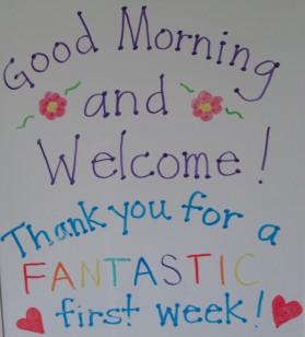 First Week sign